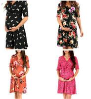 das mulheres Maternidade Bohemian Floral Vestido de Verão Imprimir mangas V-Neck solta doce tornozelo-comprimento de qualidade Vestido grávida Sundress TLZYQ1157