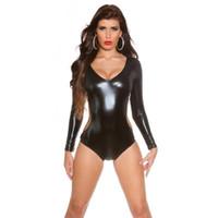 2019 Nouveau sexy Backless Body femmes noir PU cuir exposé poitrine combinaisons Combinaisons barboteuses évider Body d'été parti