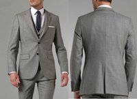 Brand New Grey Groom Tuxedos Notch Lapel Center Vent Groomsm...