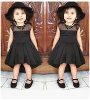 Girl dresses Vintage Lace swallow tail Hepburn style Black N...