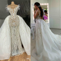 Stunning Wedding Dresses With Detachable Train Lace Applique...