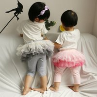 Girls lace gradient color pantskirt False tow piece tignts f...