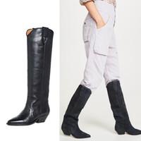 Mulheres Outono ocidental botas de camurça Salto Baixo couro joelho alta botas de bico fino passeio do vaqueiro Botas 12 # 20 / 20D50