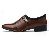 Men PU Leather Shoes Formal Comfortable Flat Pointed Toe Cas...