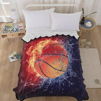 3D Water and Fire Basketball blanket design blankets Flannel...
