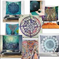 150 * 130см полиэстер Bohemian Гобелен Mandala Пляжные полотенца Хиппи Throw Yoga Mat Полотенце Индийский Полиэстер стене висит Decor 44 дизайн KKA4499