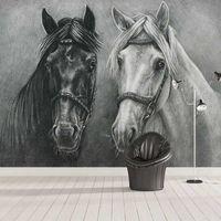 La foto de encargo mural 3D creativo pintado a mano dormitorio Caballo Blanco y Negro Estudio de la sala de estar decoración de la pared de la pintura del papel pintado