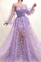 2020 Sexy A Dimensioni linea Prom Dresses lilla 3D Flowers Appliques maniche lunghe abito di sera a buon mercato più africano formale del partito del vestito BC3984