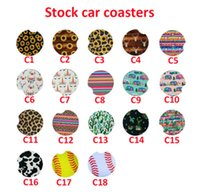 18 Styles Baseball Leopard Cactus Neoprene Car Coasters Car Cup Holder Coasters for Car Cup Mugs Mat Contrast Home Decor Accessories ZZA2117