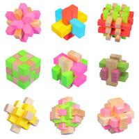 QI 3D cerveau jouets en bois Puzzle Bamboo Interlocking Puzzles trou jeu Ming verrouiller Luban verrouillage désassemblage puzzle 3D verrouillage 8 styles Livraison gratuite