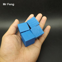 Azul 100 pzas 2.5 cm Árbol de madera Juego de cubo Gadget Rompecabezas Cerebro Sentido común Juguetes educativos para niños (Número de modelo B276)