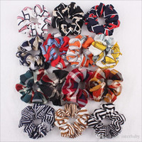 Scrunchy Hairbands Scrunchie Ponytail Headband Striped Hair Holder Rope Plaid Headdress Rubber Band Houndstooth Hair Accesorios YP4852