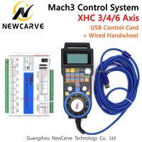 Mach3 controlador Kit XHC MKX-V 2 MHz USB del tablero del desbloqueo 3 4 6 Eje Motion Control Tarjeta Con conexión de cable colgante MPG volante LHB04B NEWCARVE