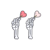 Punk Brooch Skeleton Hands with Heart Love Alloy Badges for ...