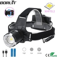 BORUiT 4000LM XHP70.2 LED Headlamp 3-Mode Zoom Headlight USB Rechargeable Head Torch Camping Hunting 18650 Battery