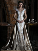 Toumajean Champagne Mermaid Prom Dresses V Neck Lace Appliqu...