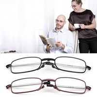 2018 MINI Design Gafas de lectura Hombres Mujeres Gafas plegables Gafas pequeñas Montura Gafas de metal negro con caja original