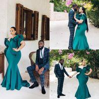 2020 Элегантный зеленый Хантер African Русалка Вечерние платья плюс размер с коротким рукавом оборками платья Пром Дешевые вечерние платья вечера невесты