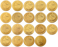 France 20 France (1832-1848 AB) 18PCS plaqué or Copie décorative Coin