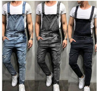 Fashion Mens Ripped Jeans Jumpsuits Street Distressed Hole D...