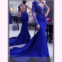 Royal Blue Pearls One shoulder Prom Dresses Mermaid Hollow B...