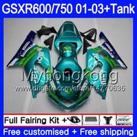 + Tank för SUZUKI GSX-R750 GSXR 750 600 K1 GSXR600 01 02 03 294HM.32 GSX R600 R750 GSXR-600 GSXR750 Movistar Cyan Hot 2001 2002 2003 Fairings