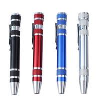 Multifunktions-8 in 1 Präzisions-Schraubendreher mit magnetischen mini beweglichen beweglichen Aluminium Werkzeug Stift Reparatur-Werkzeugen für Handy VT0220