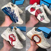 Date Rhyton en cuir sneaker mens chaussures de designer avec fraise vague bouche Tiger Web imprimer luxe Vintage Trainer femmes Designer Chaussures