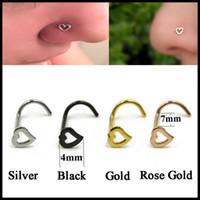 Wholesale nouvelle forme de coeur noe goujon chirurgical acier s nez sonneries corps bijoux mode de charme nez perçage accessoires