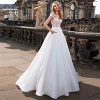 2020 Apliques Lace A-Line Vestidos de novia Simple Primavera Vestidos nupciales Modesta Modesto Piso de Piso Robe de Mariee Barato