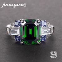 Pansysen New Natural Esmeralda Esmeralda Anéis de Prata Para As Mulheres 100% 925 Sterling Prata Jóias Casamento Noivado Anel de anel 5-12