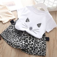 Дети дизайнерские комплекты одежды мода леопардовые наборы печати девушки бренд подходит для детей новинка роскошные вершины + брюки двух частей наборы горячие продажи