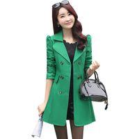Garancha de mujer abrigos de primavera otoño doblado doblado largo exterior moda moda mujer abrigo damas casual delgado rompevientos ab455