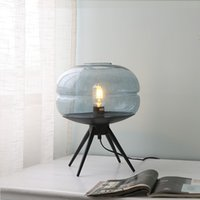 Modern Amerikan cam masa lambası yaratıcı yatak odası başucu lambası kahverengi mavi gri cam gölge demir braket okuma masa lambası