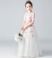 Robes de pageant de beauté blanc / rose bijou appliques fille robes de fille de fleur robes de princesse enfant jupe sur mesure 2-14 H314323