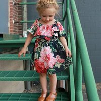 Lovely Baby Kids Girls Summer clothes Off-shoulder round neck Floral print short sleeve cotton casual Party Dresses one pieces