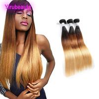 Бразильские Виргинские расширения волос 1b/4 / 27 Ombre три цвета прямые человеческие волосы 1B 4 27 волос Wfts 3 пучки