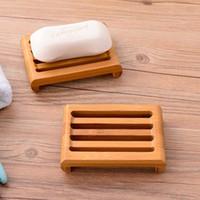Platos de jabón de bambú natural Titular de la bandeja Baño Soap Soap Tack Placa de recipiente Contenedor