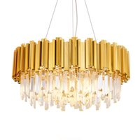 Modern Crystal Chandelier Light Round Crystal Lighting Fixtu...