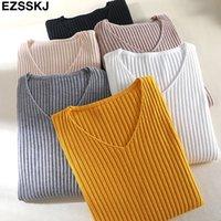 v-cuello básico de invierno sólido otoño Suéter Mujeres Mujer Jersey de punto de manga larga delgada badycon barato