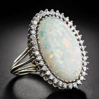 Trendy Gümüş 925 Takı Yüzük Oval Şekil Kadınlar Düğün Hediye Toptan boyutu 6-10 için Opal Zirkon Taş Yüzük