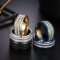 اثنين من الصفوف الدائري الكريستال الفولاذ المقاوم للصدأ خواتم الماس الاشتباك خاتم الزواج للنساء الرجال الأزياء joyery will and sandy 080462