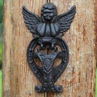 2 piezas de hierro fundido alado Angel Door Knocker Decoraciones para el hogar Querubes de metal Puerta de puerta de puerta Adorno Adorno Rústico Marrón Finich Artesanía Estilo antiguo