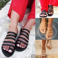 Pantuflas de mujer Verano Gladiador playa de las sandalias de los zapatos ocasionales de las señoras zapatos planos de la correa Sandalias romanas tirón Mujer flopes