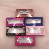 20 / 50PC al por mayor de papel Lash caja azul del color rosa suave vaciar las pestañas personalizada Embalaje