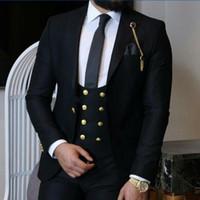Preto Noivo Smoking Pico Lapela Slim Fit Groomsman Casamento Smoking Moda Masculina Prom Party Blazer Jacket 3 Piece Suit (Jacket + Pants + Tie + Vest) 65