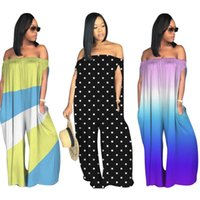 2019 spring new hot sale loose tube rainbow jumpsuit baggy c...