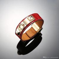 Nueva pulsera de cocodrilo patrón H, titanio acero pulsera de la correa de la hebilla de clavo, pulsera de cuero clásico para hombres y mujeres