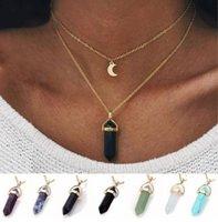 Modeschmuck Naturstein Halsband Hexagonal Spalte Halskette Frauen Gold Farbe Mond Crescent Anhänger mehrschichtige Halskette 7 Farben