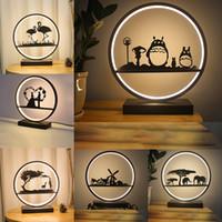 Nordic спальня прикроватная светильник для столового светильника смолы фламинго Totoro слон ветряная мельница светодиодный стол свадебные огни декоративные розовые стол